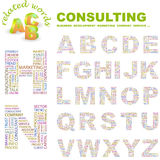 CONSULTING. ABC. Word cloud concept illustration. Print concept collage vector illustration