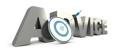 Consulting, Advice Concept. Word advice in 3D with a blue target and a arrow hitting the center. Consulting concept Stock Photos