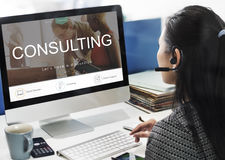 Consulting Advisory Assistance Suggestion Guidance Concept. Business Woman Using Computer Consulting Advisory Assistance Suggestion Guidance royalty free stock photography