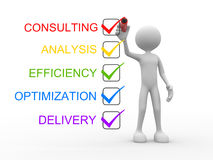 Consulting, analysis, efficiency, optimization, delivery. 3d people - man, person and check list. Consulting, analysis, efficiency, optimization, delivery Stock Image