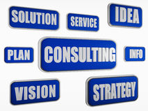 Consulting - blue business concept. Consulting - text in 3d blue banners with business concept words Royalty Free Stock Image