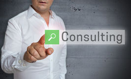 Consulting browser is operated by man concept.  royalty free stock photo