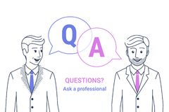 Consulting business advise. Businessman and consultant with speech bubbles and letters q and a. Consulting business advise. Smiling businessman and consultant royalty free illustration