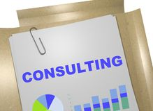Consulting - business concept. 3D illustration of CONSULTING title on business document Royalty Free Stock Images