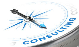 Consulting. Business consulting concept image, Compass with needle pointing the word consulting, blue tones over white background royalty free illustration