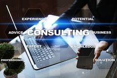 Consulting business concept. Text and icons on virtual screen Royalty Free Stock Photography