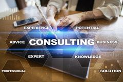 Consulting business concept. Text and icons on virtual screen Royalty Free Stock Photos
