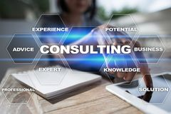Consulting business concept. Text and icons on virtual screen.  Royalty Free Stock Photos