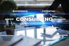 Consulting business concept. Text and icons on virtual screen. Consulting business concept. Text and icons on virtual screen Stock Image