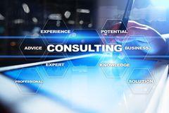 Consulting business concept. Text and icons on virtual screen. Consulting business concept. Text and icons on virtual screen Stock Photos
