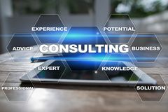 Consulting business concept. Text and icons on virtual screen. Consulting business concept. Text and icons on virtual screen Stock Photo