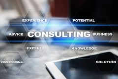 Consulting business concept. Text and icons on virtual screen. Consulting business concept. Text and icons on virtual screen Royalty Free Stock Photos