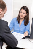 Consulting or business meeting - young businesswoman sales royalty free stock images