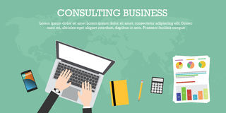 Consulting business. World wide laptop notebook graph calculator pencil smartphone Stock Image