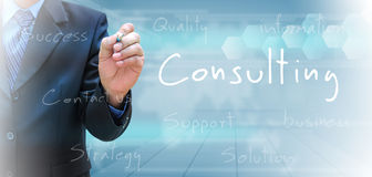 Consulting. A businessman hand writing consulting vector illustration
