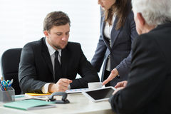 Consulting with businesswoman royalty free stock image
