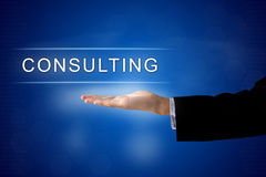 Consulting button on virtual screen Royalty Free Stock Images