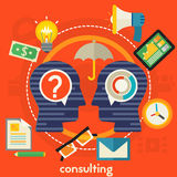 Consulting Concept. Banner. Square composition, vector illustration Royalty Free Stock Photography