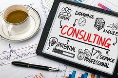 Consulting concept chart with business elements. On tablet pc stock photo