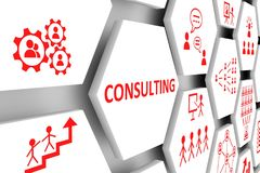 CONSULTING concept. Cell background 3d illustration vector illustration