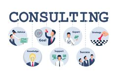 Consulting concept design for business, planning, strategy etc. stock illustration