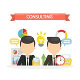 Consulting concept illustration. Businessmen discussing and solving problems Royalty Free Stock Image