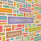 CONSULTING. Concept related words in tag cloud. Conceptual info-text graphic. Word collage Royalty Free Stock Photos