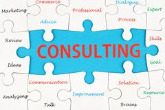Consulting concept. Word cloud on group of jigsaw puzzle pieces Stock Photo