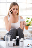 Consulting with doctor by phone. Stock Photography