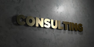 Consulting - Gold text on black background - 3D rendered royalty free stock picture Stock Image