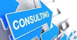Consulting - Inscription on the Blue Arrow. 3D. Consulting, Text on Blue Arrow. Consulting - Blue Pointer with a Label Indicates the Direction of Movement. 3D Royalty Free Stock Photos