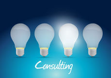 Consulting light bulb message illustration design Stock Photos