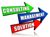Consulting, management, solution in arrows Stock Photography