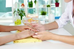Consulting on manicure Stock Image