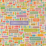 CONSULTING. Seamless pattern. Concept related words in tag cloud. Conceptual info-text graphic. Word collage Royalty Free Stock Images