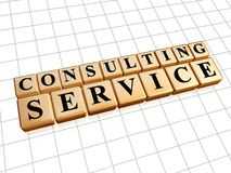 Consulting service in golden cubes Royalty Free Stock Photo