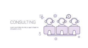 Consulting Team Support Technology Concept Banner With Copy Space Thin Line. Vector Illustration Stock Images
