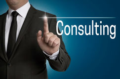 Consulting touchscreen is operated by businessman Royalty Free Stock Photography