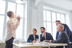 Consulting woman as seminar speaker Stock Images