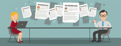 Consulting Woman Notebook Businessman Table Bewerbung. German text Bewerbung, translate Application Stock Images
