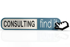 Consulting word on the blue find it banner Stock Photo