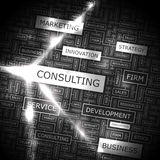 CONSULTING. Word cloud illustration. Tag cloud concept collage stock illustration