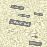 CONSULTING. Word cloud illustration. Tag cloud concept collage Stock Images