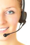 Consultor de la mujer con el receptor de cabeza Imagen de archivo