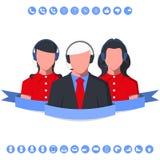 Consultor de negocio del centro de atención telefónica con las auriculares Imagenes de archivo