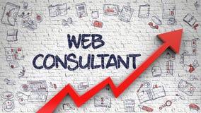 Consultor Drawn del web en Brickwall blanco Imagen de archivo