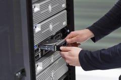 Consultor Replace de las TIC una impulsión dura en servidor Fotografía de archivo libre de regalías