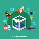 Consumables For 3d Printing Design Concept. Design concept of consumables for 3d printer on green background with decorative icons showing plastic cartridges and Stock Images