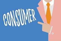 Consumatore di scrittura del testo della scrittura Concetto che significa dimostrazione che acquista beni e servizi per uso demon illustrazione di stock