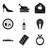 Consume icons set, simple style. Consume icons set. Simple set of 9 consume vector icons for web isolated on white background Royalty Free Stock Photography